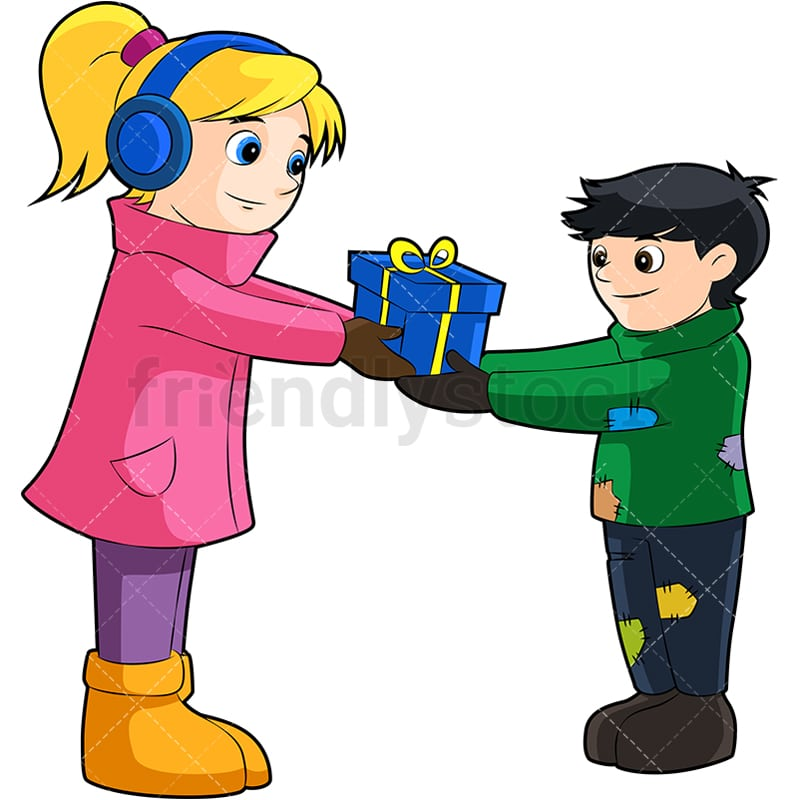 Christmas Giving Clipart.A Little Girl Giving Away Her Present To A Poor Boy In Christmas Spirit