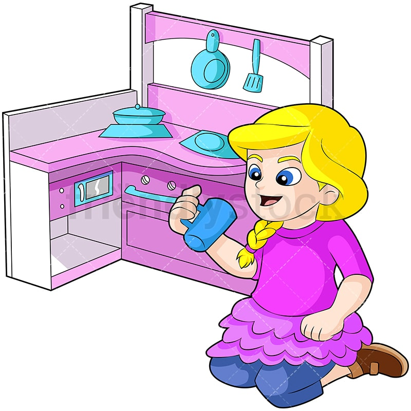 Little Girl Playing With Kitchen Set Cartoon Vector Clipart