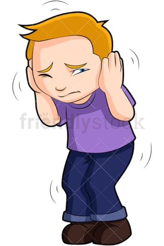 Scared kid hunched over covering ears. PNG - JPG and vector EPS (infinitely scalable). Image isolated on transparent background.