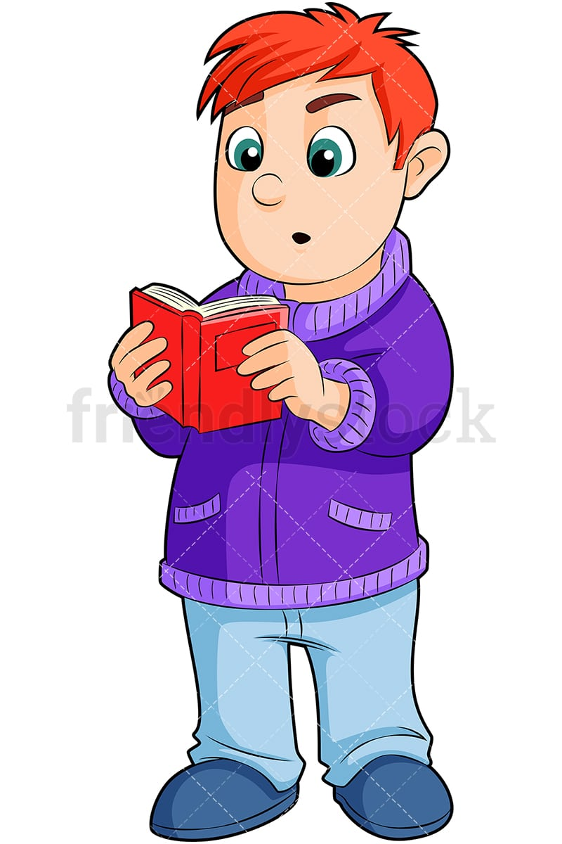 standing up boy reading book cartoon vector clipart - friendlystock