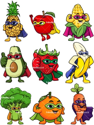 Fruit and vegetable superheroes. PNG - JPG and vector EPS file formats (infinitely scalable).