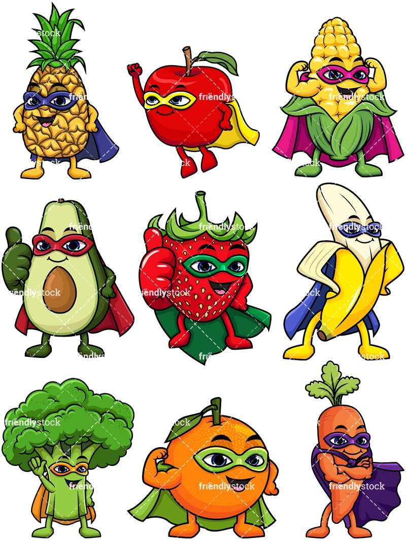 Fruit And Vegetable Superheroes Cartoon Clipart Friendlystock