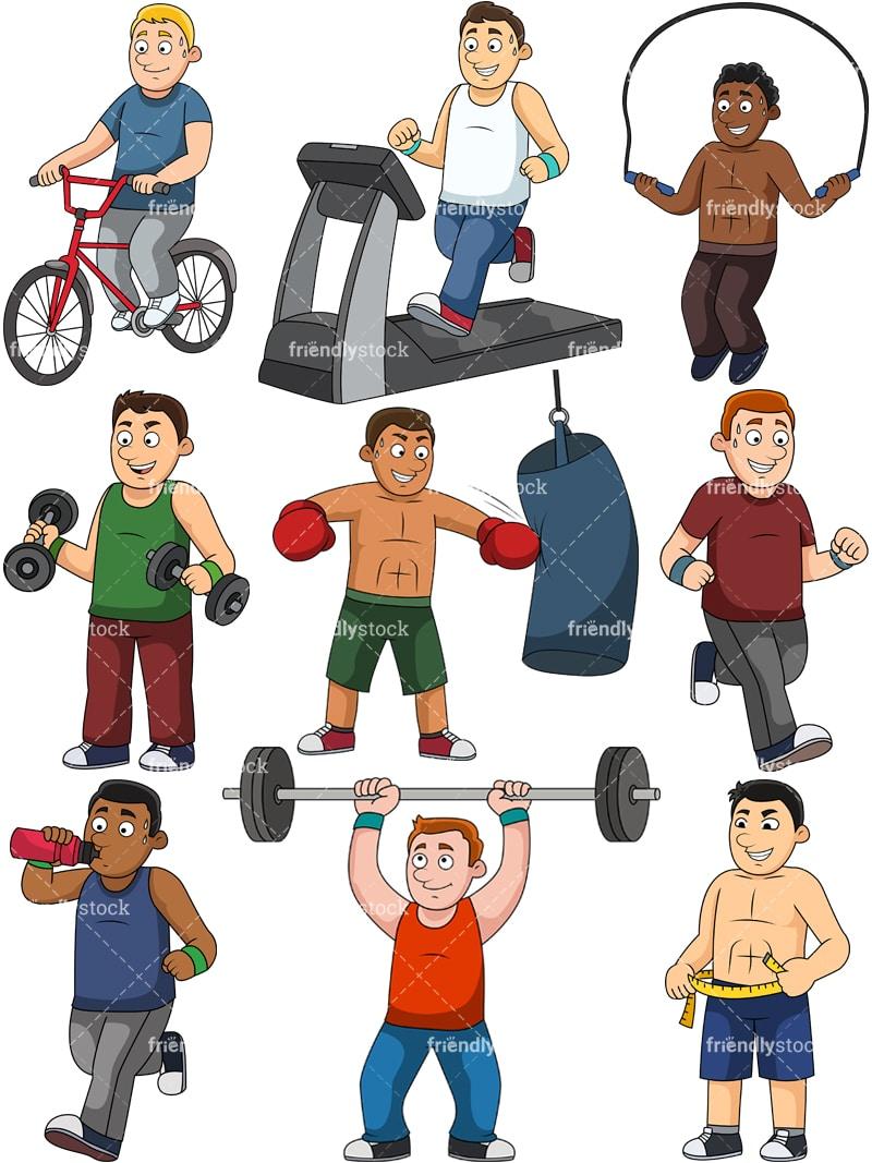 Men Weight Loss Collection Cartoon Clipart Friendlystock