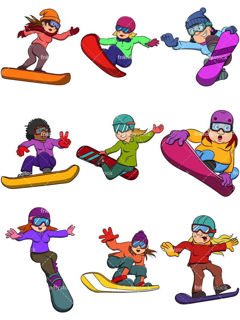 Women Snowboarding Cartoon Vector Clipart Friendlystock