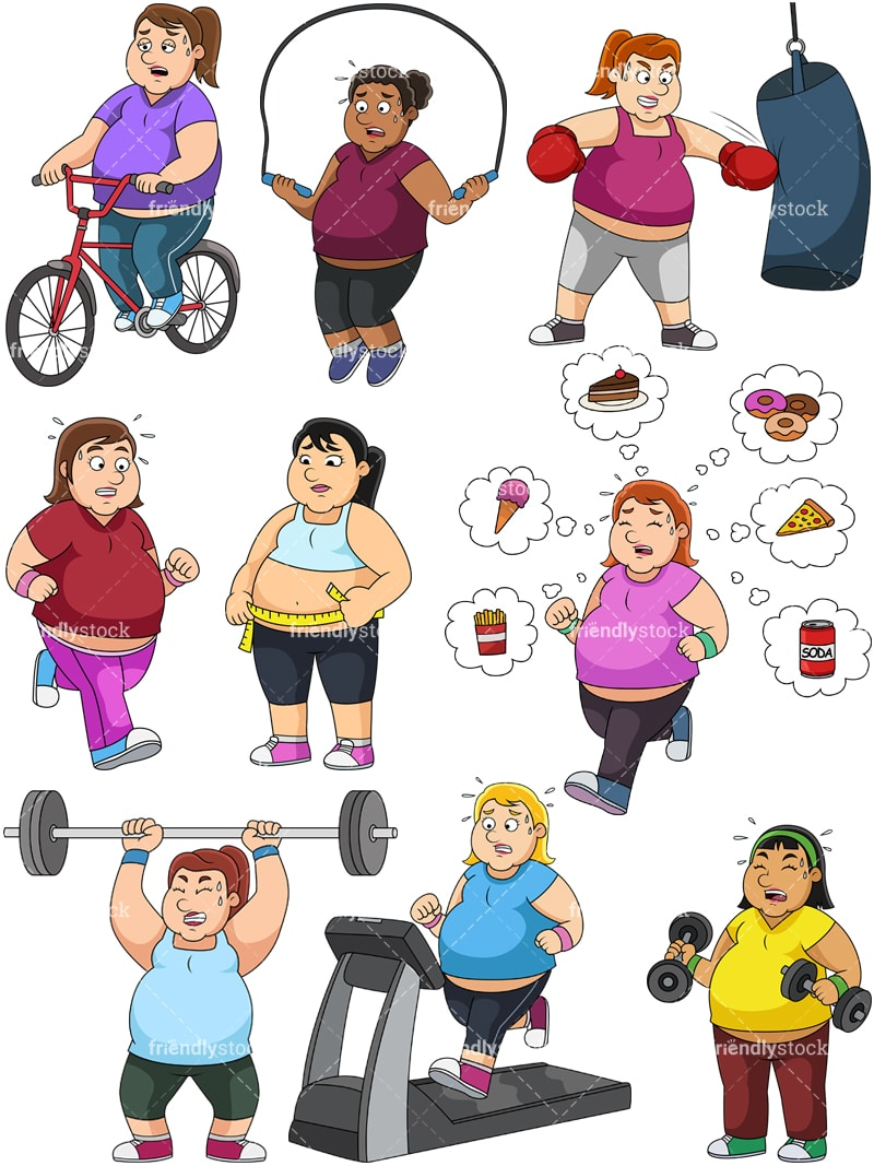 Women Trying To Lose Weight Cartoon Vector Clipart Friendlystock