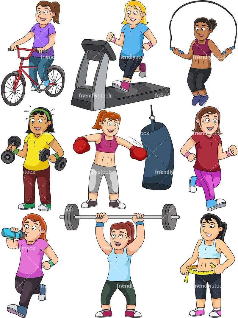 Women Weight Loss Collection Cartoon Vector Clipart Friendlystock