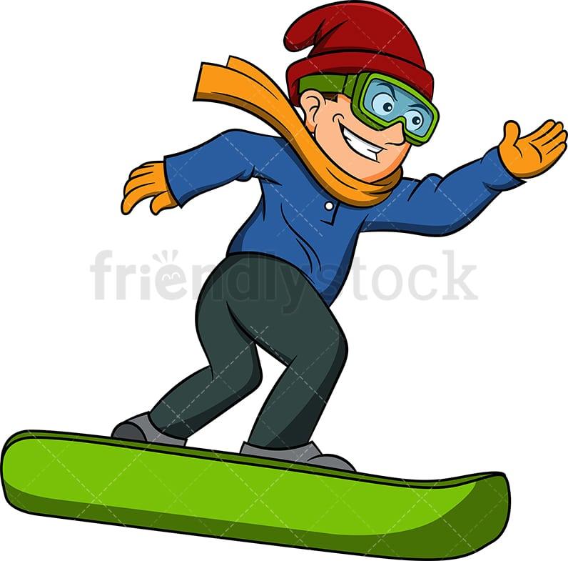 Happy Man Snowboarding Cartoon Vector Clipart Friendlystock