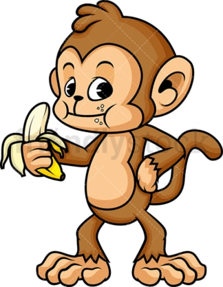 Monkey cartoon character holding banana. PNG - JPG and vector EPS (infinitely scalable).