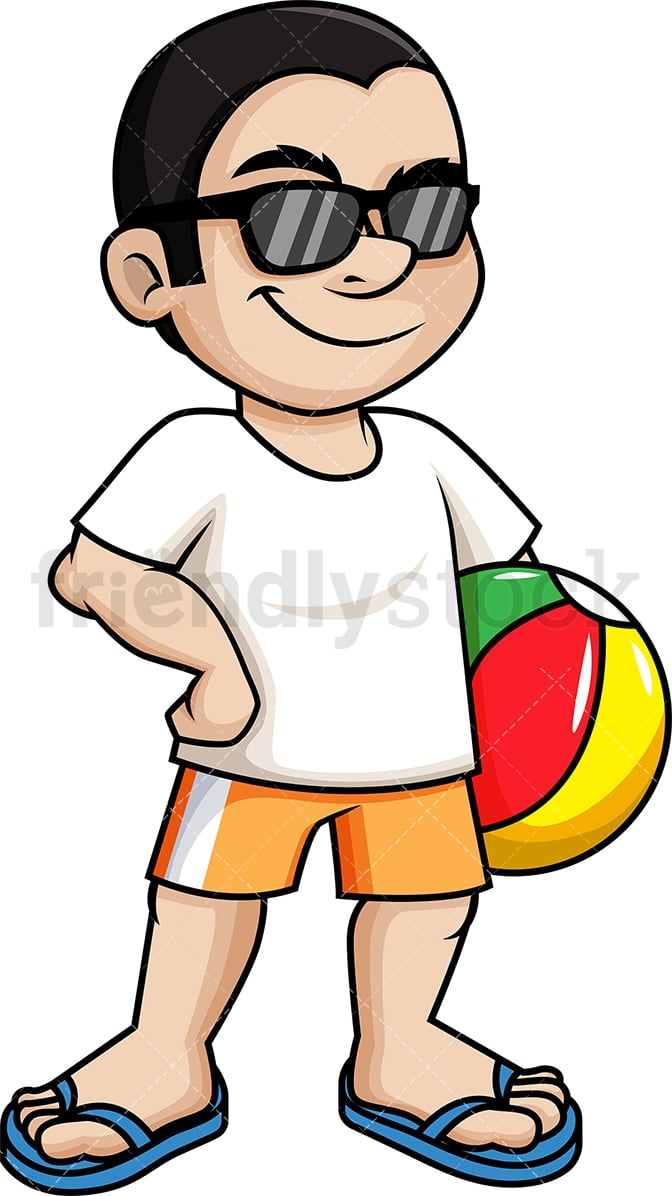 cool guy holding beach ball cartoon vector clipart friendlystock