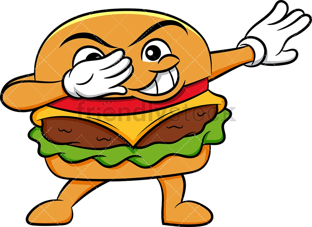 dabbing hamburger sandwich cartoon vector clipart friendlystock dabbing hamburger sandwich cartoon vector clipart friendlystock