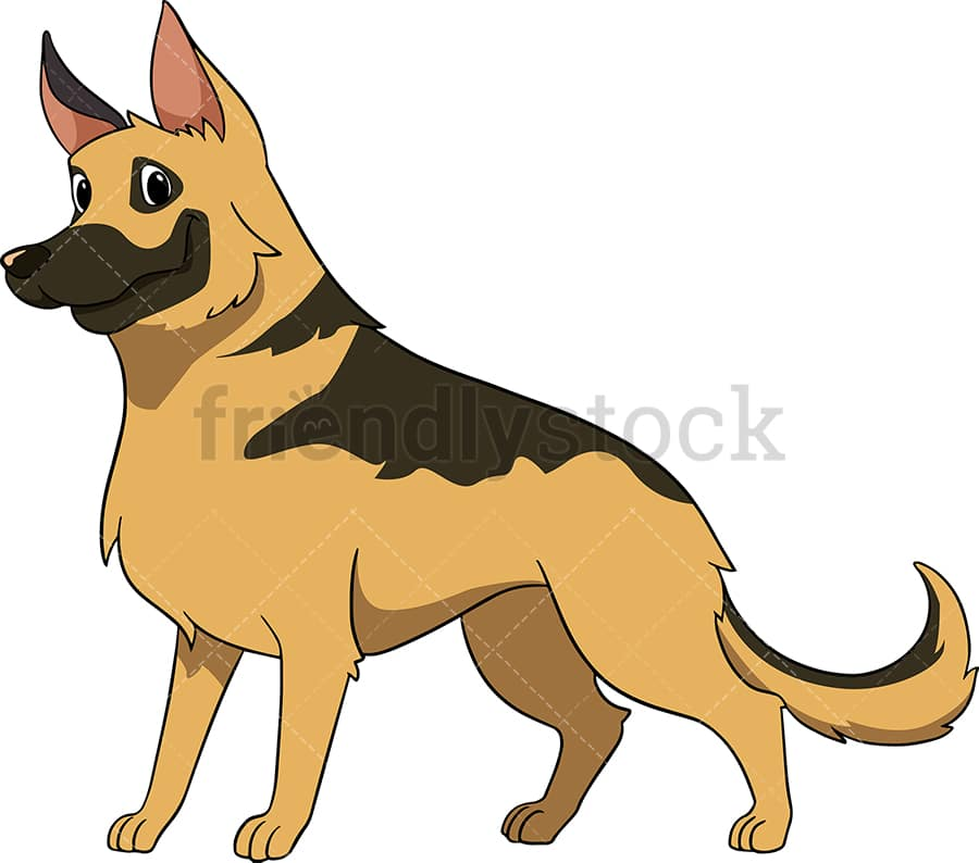 Proud German Shepherd Cartoon Vector Clipart Friendlystock