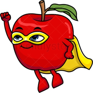 Superhero apple cartoon character. PNG - JPG and vector EPS (infinitely scalable).