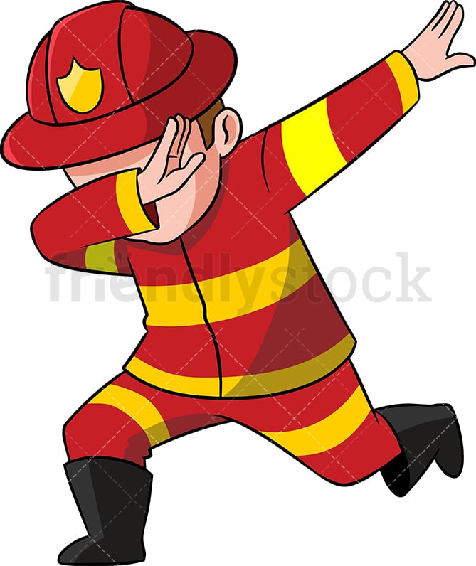 dabbing firefighter cartoon vector clipart friendlystock rh friendlystock com Cartoon Firefighter Girl firefighter cartoon images