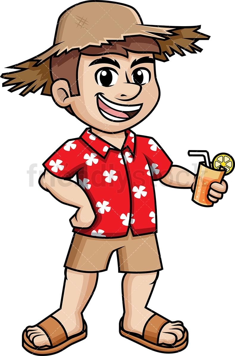 ... Relaxed Man Wearing Summer Hat Cartoon Vector Clipart FriendlyStock 076564776a99