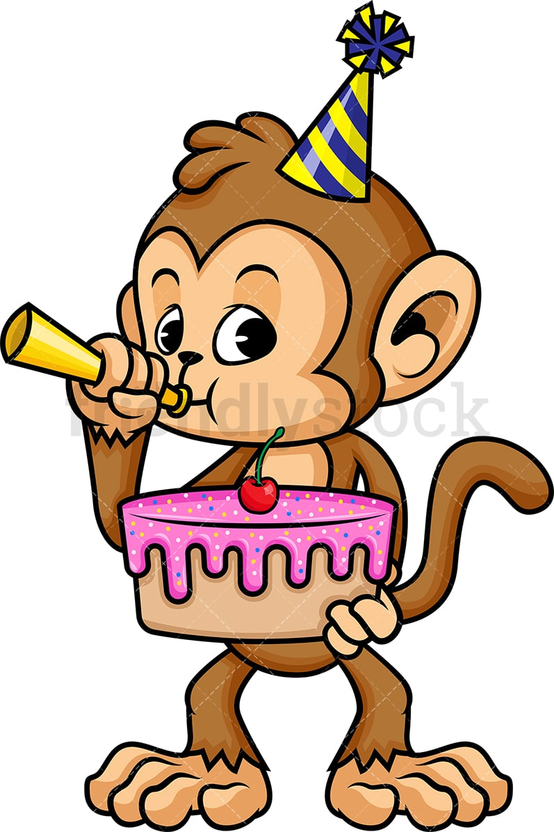 Monkey Holding Birthday Cake Vector Cartoon Clipart