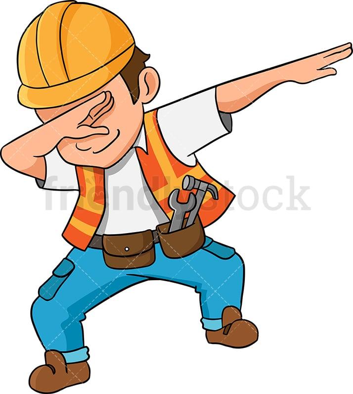 dabbing construction worker cartoon vector clipart friendlystock rh friendlystock com free clipart workers construction free clipart construction workers cartoon