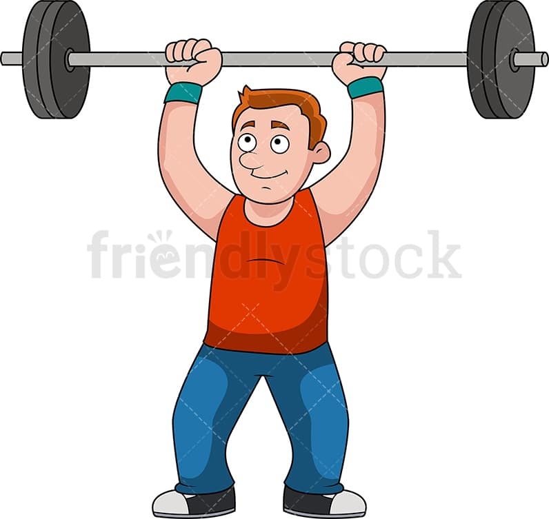 Man Lifting Barbell For Exercise Cartoon Vector Clipart Friendlystock