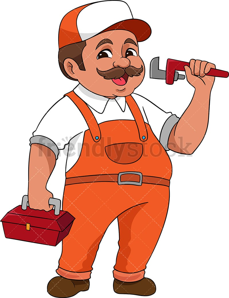 plumber holding wrench cartoon vector clipart friendlystock