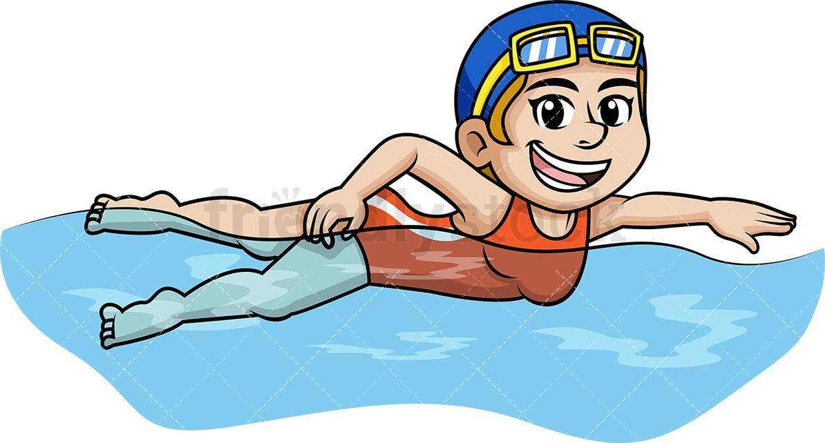 Woman Swimming In The Water Cartoon Vector Clipart Friendlystock