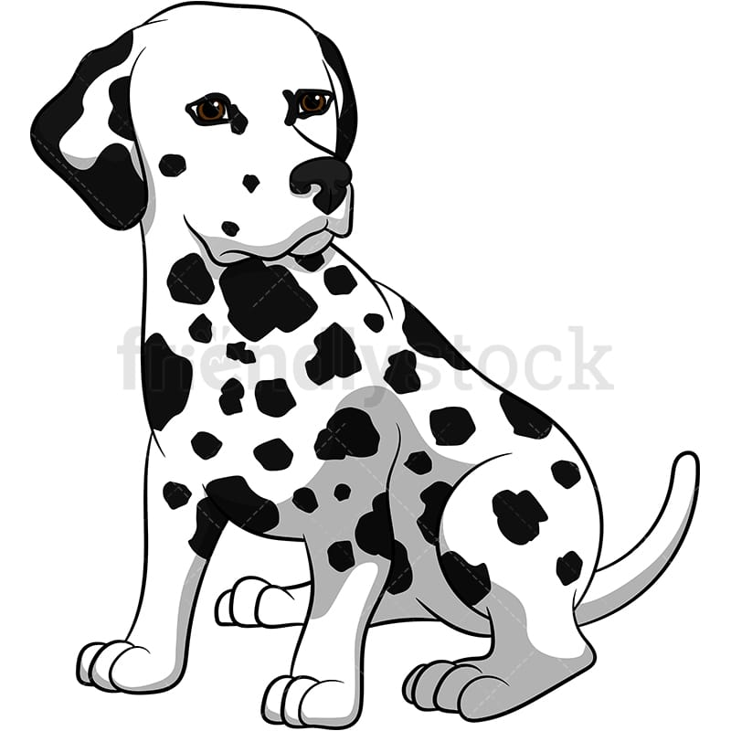 Cute Dalmatian Dog Cartoon Vector Clipart