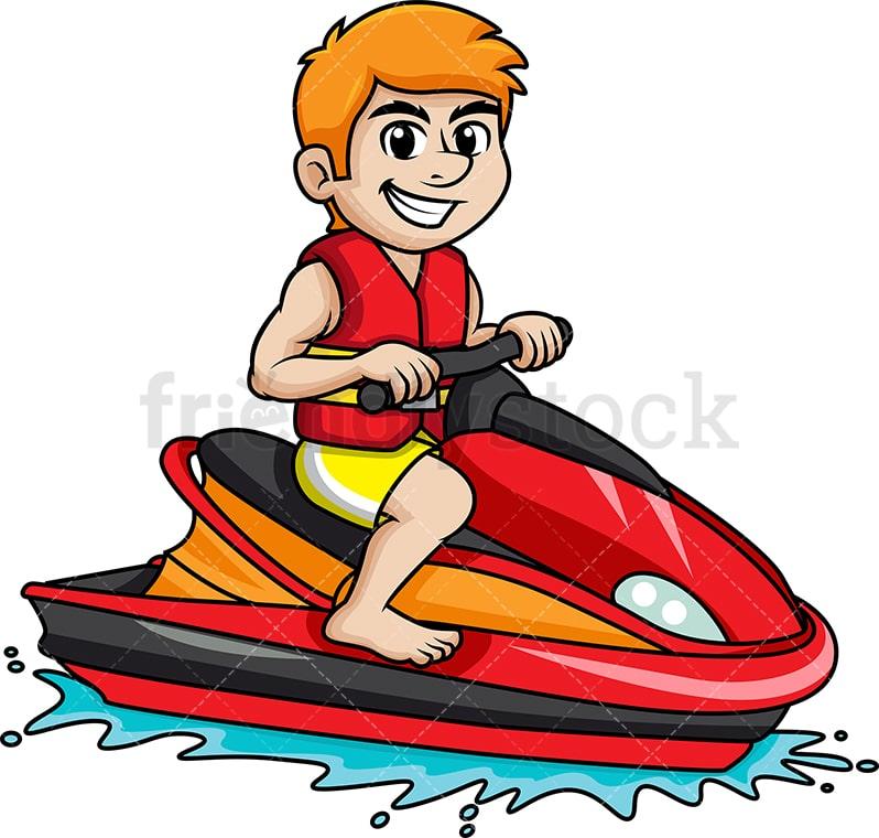 Man Riding Jet Ski Cartoon Vector Clipart Friendlystock