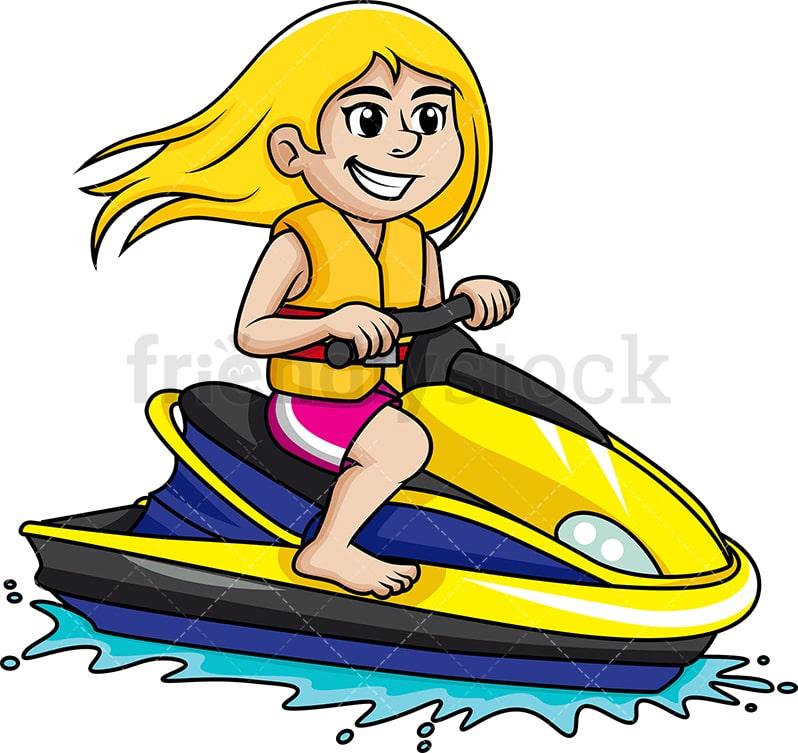 Woman Riding Jet Ski Cartoon Vector Clipart Friendlystock