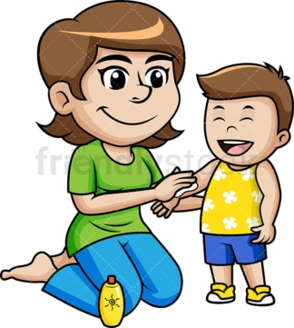 Mother applying sunscreen to little boy. PNG - JPG and vector EPS file formats.