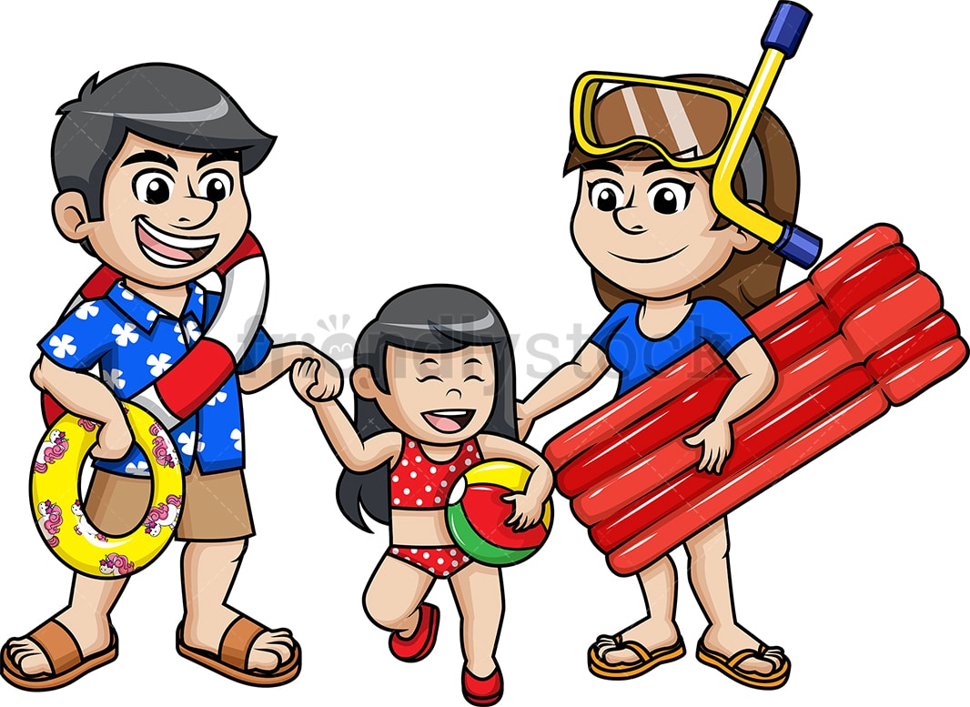 Family Going To The Beach Cartoon Vector Clipart Friendlystock