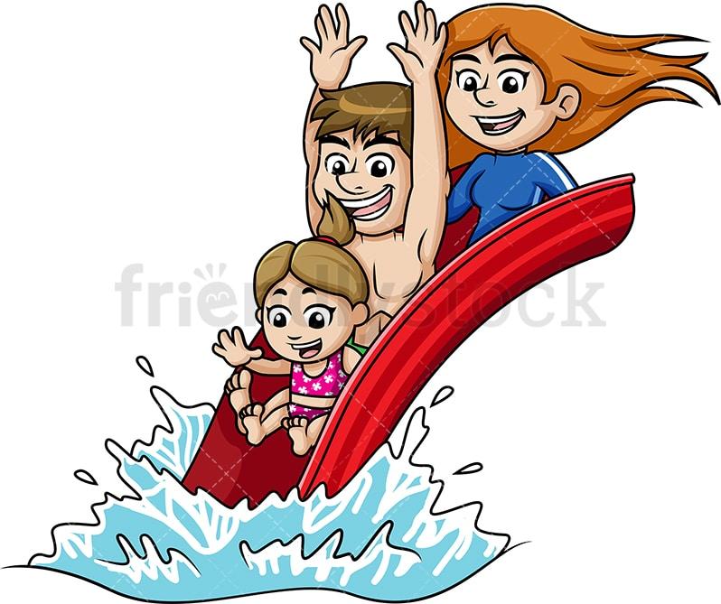 Happy Family At A Water Park Cartoon Vector Clipart Friendlystock