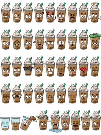 Iced coffee emoticons bundle. PNG - JPG and vector EPS file formats (infinitely scalable). Images isolated on transparent background.