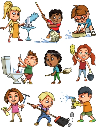 Kids cleaning. PNG - JPG and vector EPS file formats (infinitely scalable). Images isolated on transparent background.