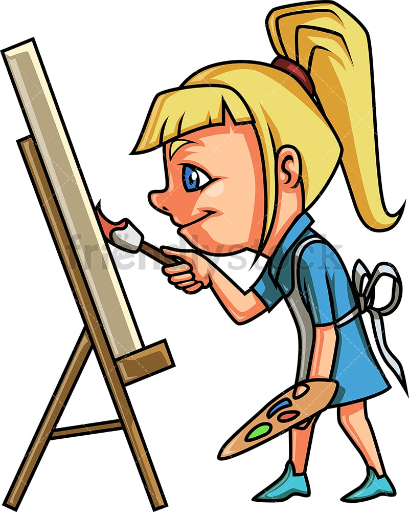 Little Girl Painting On Canvas Cartoon Clipart Vector Friendlystock
