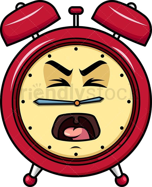 Yelling Alarm Clock Emoji Cartoon Vector Clipart Friendlystock