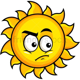 Irritated sun emoticon. PNG - JPG and vector EPS file formats (infinitely scalable). Image isolated on transparent background.