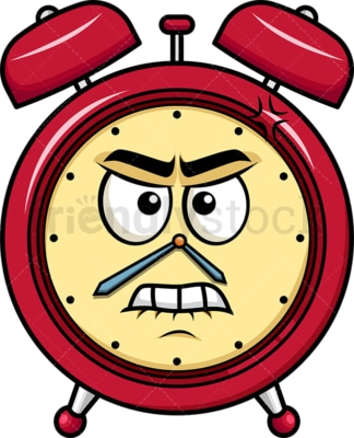 Angry alarm clock emoticon. PNG - JPG and vector EPS file formats (infinitely scalable). Image isolated on transparent background.