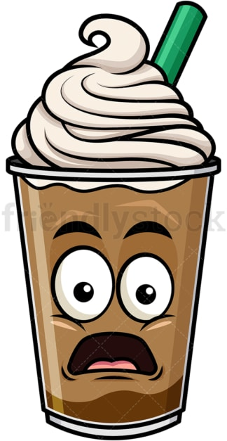 Shocked iced coffee emoticon. PNG - JPG and vector EPS file formats (infinitely scalable). Image isolated on transparent background.