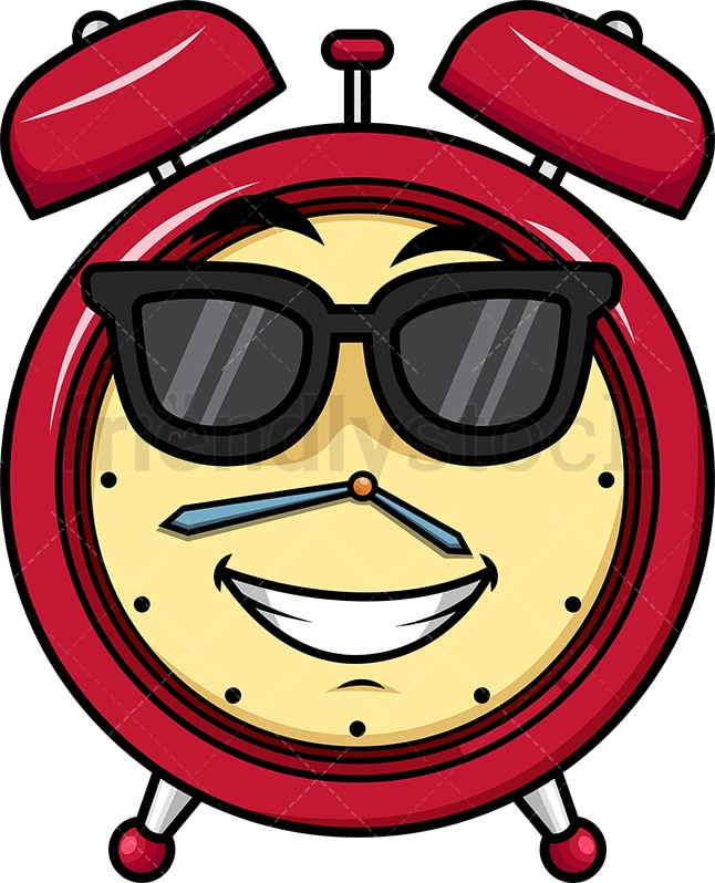 cool alarm clock wearing sunglasses emoticon png jpg and vector eps file formats