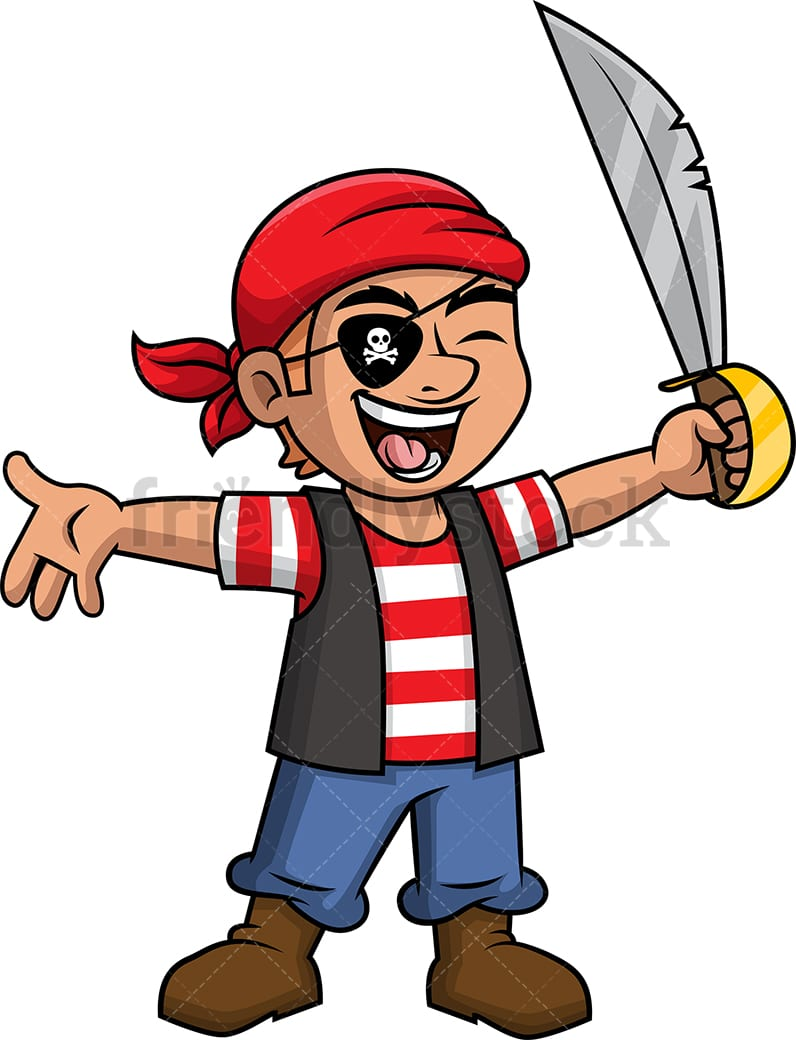 Joyful Male Pirate Cartoon Clipart Vector Friendlystock