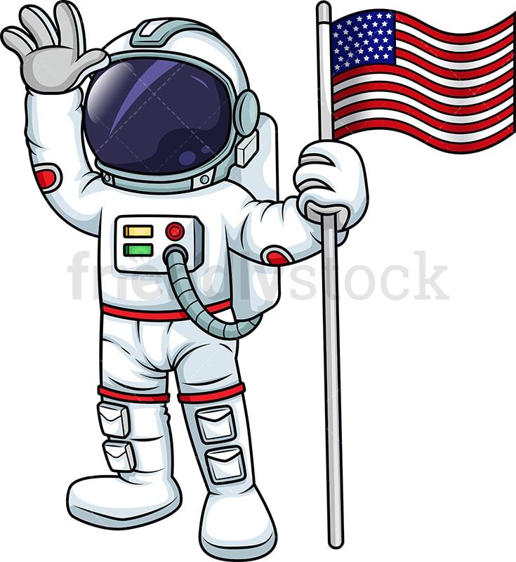 male astronaut holding us flag cartoon vector clipart friendlystock rh friendlystock com clipart astronaut holding flag clip art astronaut png