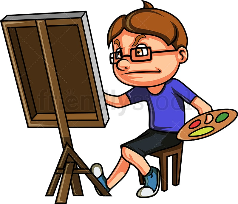 Nerdy Kid Drawing A Painting Cartoon Clipart Vector Friendlystock