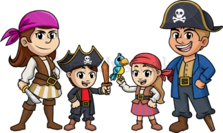 Family dressed as pirates for Halloween. PNG - JPG and vector EPS (infinitely scalable).