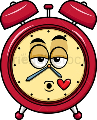 Alarm clock blowing a kiss emoticon. PNG - JPG and vector EPS file formats (infinitely scalable). Image isolated on transparent background.