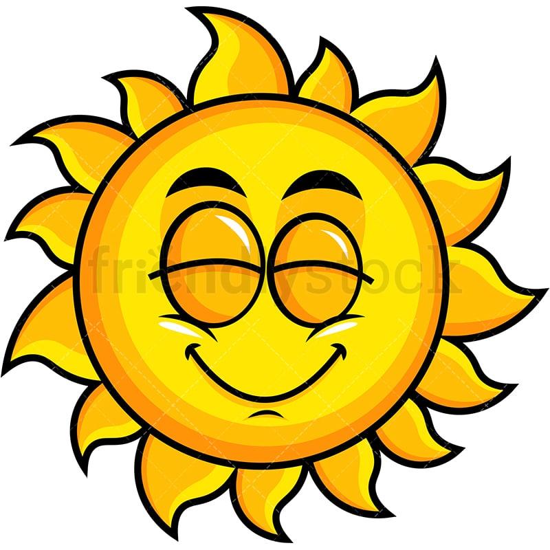 Delighted Sun Emoji Cartoon Vector Clipart