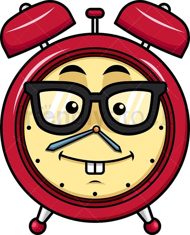 Geeky Alarm Clock Emoji Cartoon Vector Clipart Friendlystock
