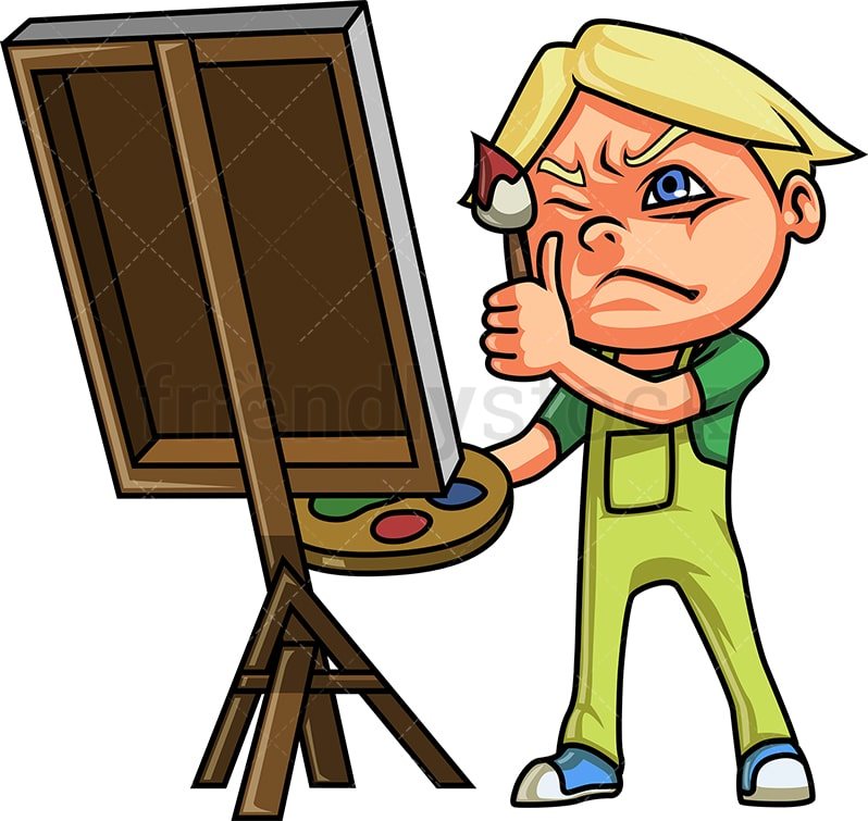 Little Boy Painting On Canvas Cartoon Clipart Vector Friendlystock