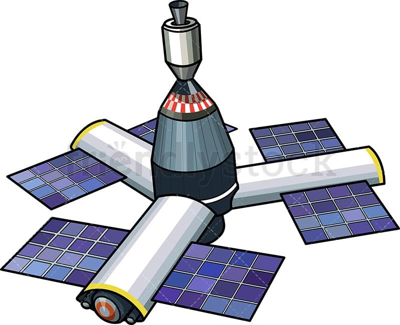 Orbital Space Station Cartoon Vector Clipart Friendlystock