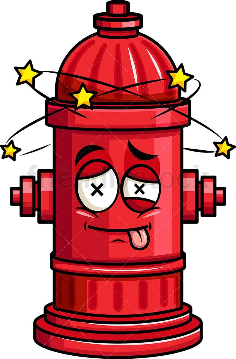 beaten up fire hydrant emoji cartoon vector clipart friendlystock