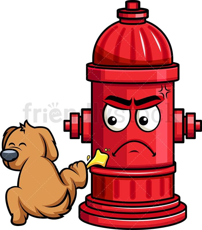 Dog Pissing On Fire Hydrant Emoji Cartoon Vector Clipart Friendlystock