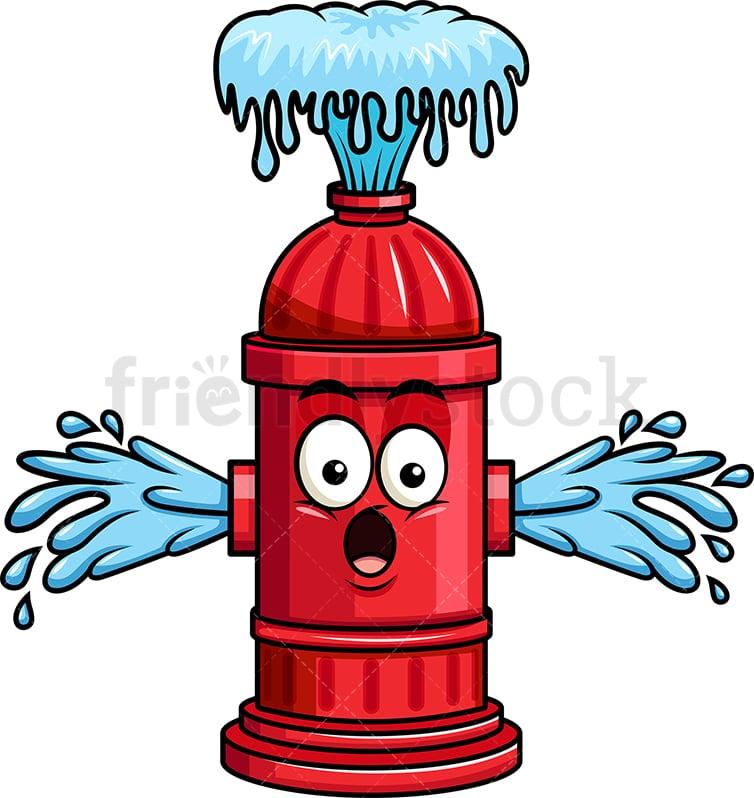 fire hydrant emoji losing water cartoon vector clipart friendlystock