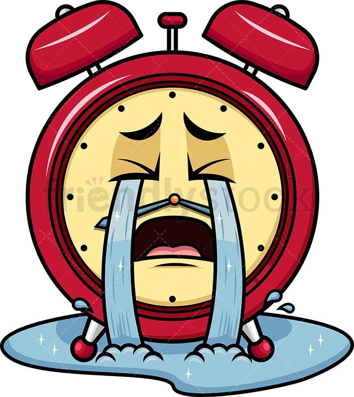 Crying Out Loud Alarm Clock Emoji Cartoon Vector Clipart Friendlystock